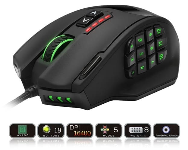19 Buttons Gaming Mouse USB Design