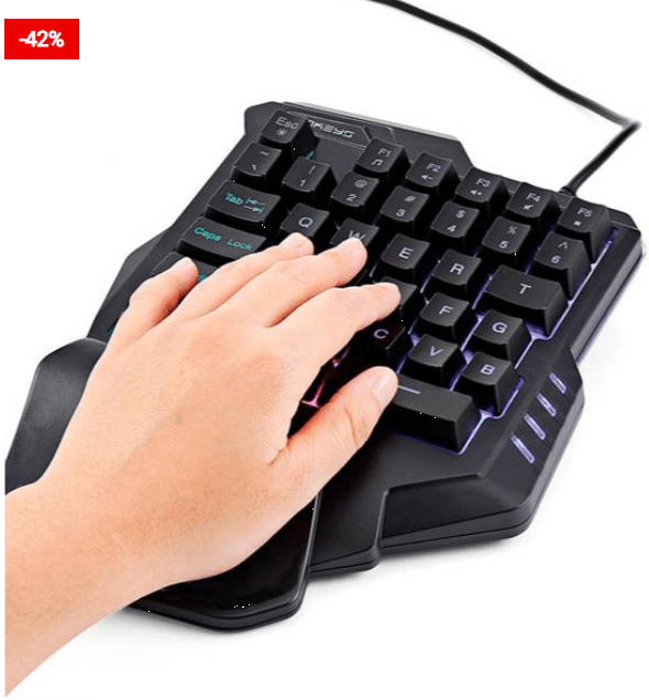 One Handed Gaming Keyboard With LED Light